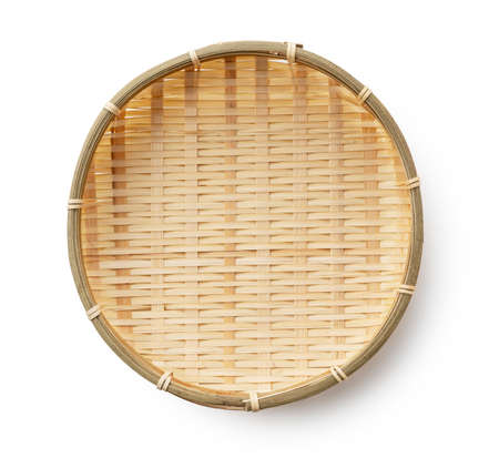 Bamboo basket placed on a white background.Bamboo basket plate for Zaru Soba