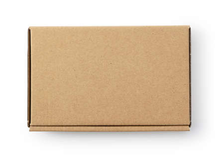 A cardboard box on a white background. View from directly above.