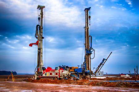 Drilling rig. Drilling deep wells. Industry Mineral exploration. Belarus. Salihorsk 2020