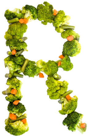 Letter R. Healthy lifestyle and nutrition. English alphabet. Text from the products. Broccoli, asparagus, carrots. Designer font. Vegetable Font. Reklamní fotografie