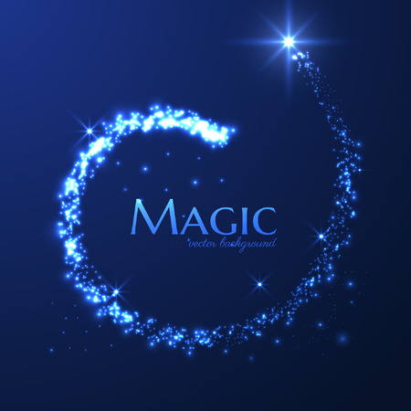 Magic particles dust trail vector background.