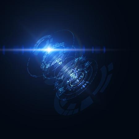 Abstracte glanzende technologische HUD vector achtergrond. Stockfoto - 63933526