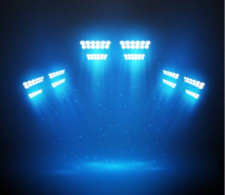 Blue shiny spotlight background with smoke. Vector eps10.