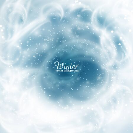 hoarfrost: Winter background. Frozen window with rime and falling snow Eps10.