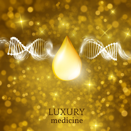 glowing skin: Medical  with golden glitter. EPS10