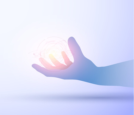 Shiny blue technology vector background with hand holding energy ball. Illustration