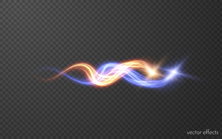 Magic intertwining red and blue fireballs. Fire and ice concept. Vector eps10
