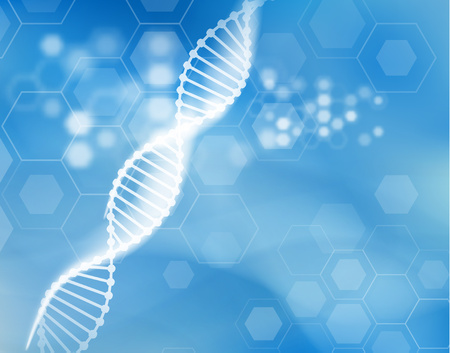 DNA strand scientific vector background. Imagens