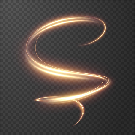 Linee a spirale splendente incandescente effetto sfondo vettoriale. EPS10. Effetto movimento velocità luce astratta. Sentiero ondulato lucido. Pittura leggera. Sentiero di luce. Vector eps10