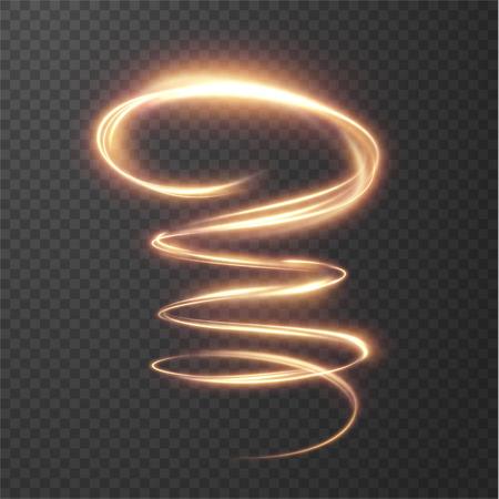 Des lignes en spirale brillantes et brillantes ont un effet de fond vectoriel. EPS10. Effet abstrait de mouvement de vitesse de la lumière. Sentier ondulé brillant. Peinture claire. Sentier lumineux. Vecteur eps10. Vecteurs
