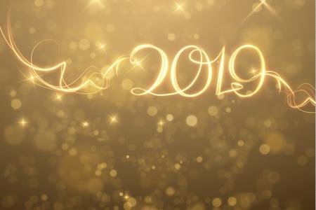 2019 abstrait de vacances de nouvel an. Vecteur eps10 Vecteurs