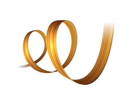 3d golden paint brush stroke ribbon spiral. Vector background.