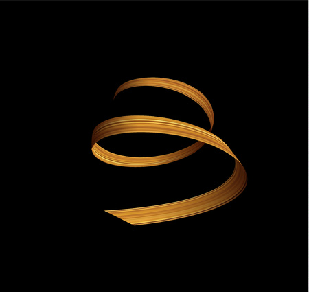 3d golden paint watercolor brush stroke or golden silk cloth stripe luxury ribbon spiral . Vector background. Illustration
