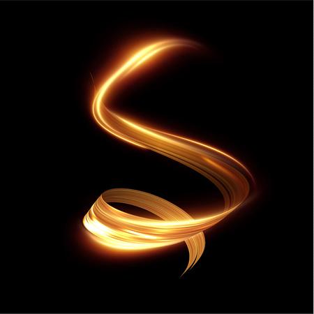 Złote świecące błyszczące spiralne linie efekt tło wektor. EPS10. Streszczenie efekt ruchu prędkości światła. Błyszczący falisty szlak. Malowanie światłem. Lekki szlak. Wektor eps10.