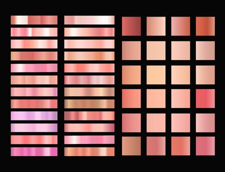 Rose gold gradient vector collection. Easy to use. Illustration