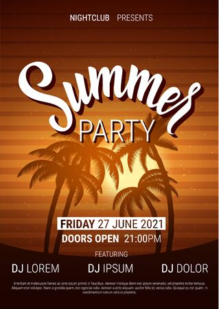 Summer disco poster in trendy neon colors. Vector background.