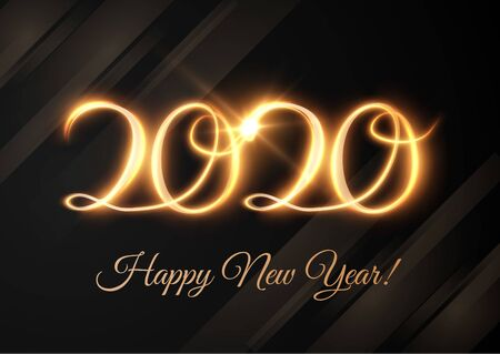 2020 new year shiny numbers vector light trail background.