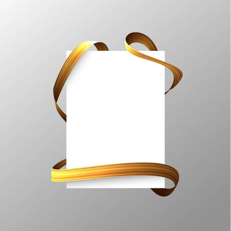 Blank sheet with golden ribbon wrapped around. Vector eps10. Stock Illustratie