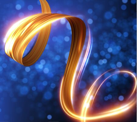 Golden ribbon with light trail effect and energy lines vector background.