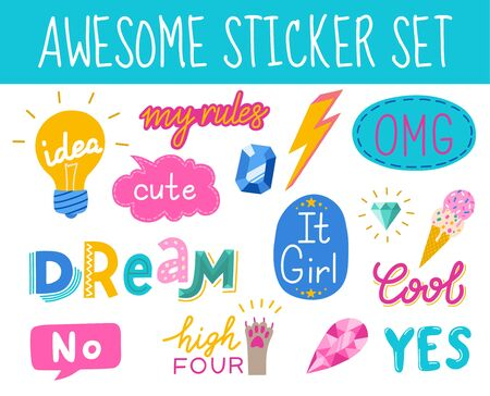 Awesome sticker collection in trendy hand drawn style. Vector eps10.