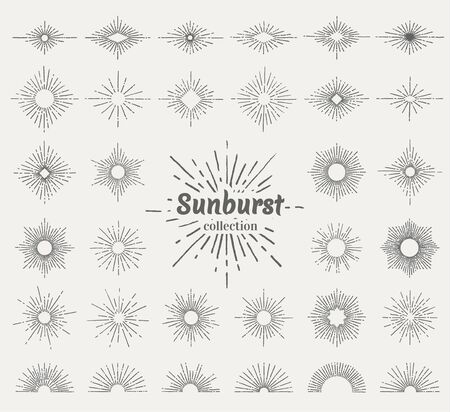 Big collection of hand drawn vintage star bursts decorative elements. Vector eps10.
