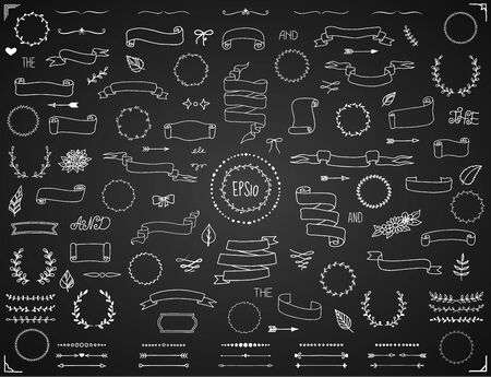Hand drawn scrolls and banners big collection of decorative elements in vintage style. Vector eps10 Vector Illustration