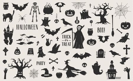 Cute hand drawn Halloween related silhouettes collection. Vector eps10.
