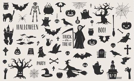 Linda colección de siluetas relacionadas con Halloween dibujadas a mano. Eps10 vector.