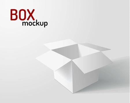 White opened box with shadows realistic mockup background. Vector eps10. Ilustracja