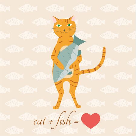 Adorable cat character holding big fish background. Vector eps10.  イラスト・ベクター素材