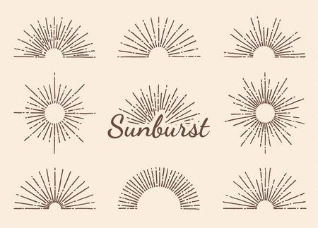 Vintage sunburst with radial sun beams vector collection background. EPS10. Ilustração