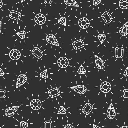 Diamond shiny gemstones vintage seamless pattern background. Vector eps10.