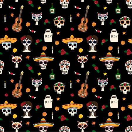 Dia de muertas seamless pattern, great design for any purposes. Vector eps10.