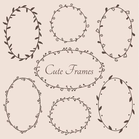 Śliczne okrągłe i owalne elementy dekoracyjne w kształcie ramek. Wektor eps10.