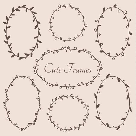 Cute round and oval shaped frames decorative design elements. Vector eps10.