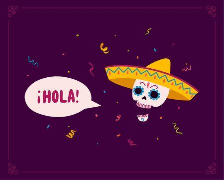 Beau fond traditionnel mexicain dia de los muertos, superbe design à toutes fins utiles dans un style dessiné à la main à la mode. Jour des morts authentique vacances hispaniques Vecteur eps10. Vecteurs