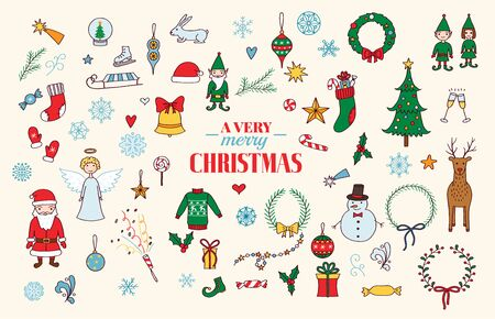 Cute hand drawn Christmas holiday characters collection. Vector eps10. Banque d'images - 131320892
