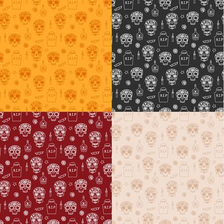 Dia de muertos seamless pattern, great design for any purposes. Vector eps10.
