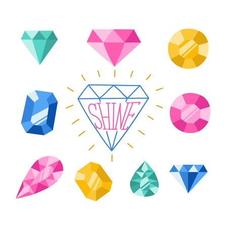 Gemstone luxury jewelry collection vector background. EPS10.
