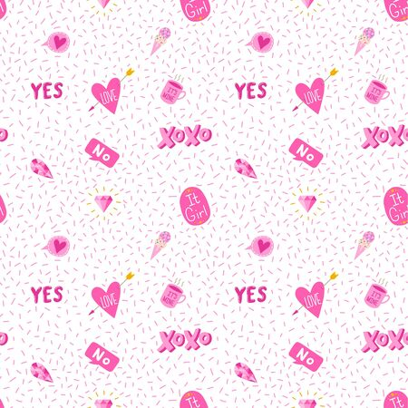 Cute girly seamless pattern with yes and xoxo text. Vector eps10.