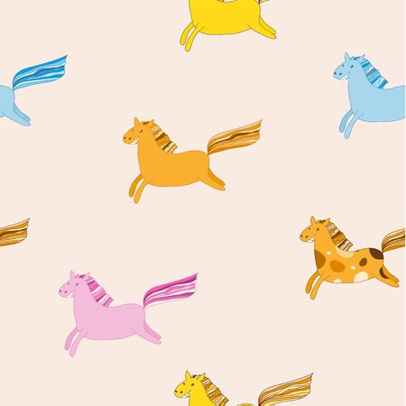 Cute flying horse seamless vector pattern.