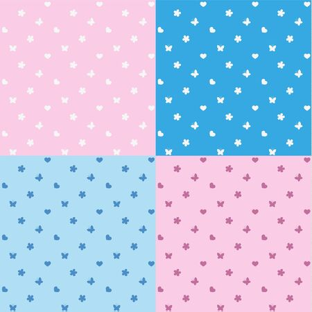 Cute girly seamless pattern with butterflies and heart shapes.