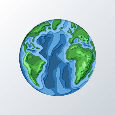 Paper cut out earth vector background. Concept for earth day or ecology, environmental protection. Can be used for greeting cards or global concepts for busines presentations.