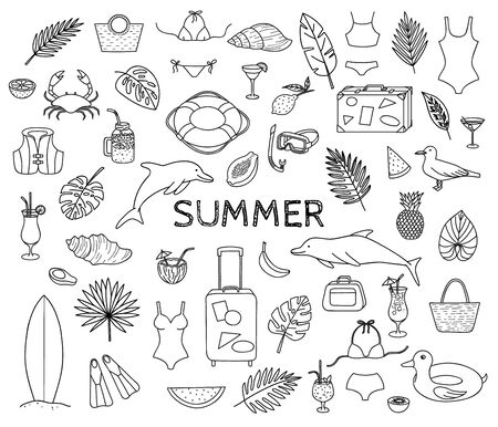 Big collection of summer theme hand drawn doodles.