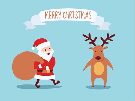 Cute hand drawn Christmas holiday characters and decorative elements collection. reindeer and Santa Claus. Vector eps10. Ilustração
