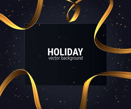 Abstract golden ribbon for decorative design illustration. Party invitation. Luxury gold card design. Vector decorative background for christmas holidays.