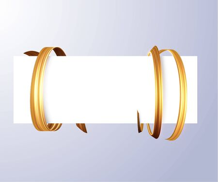 Blank sheet with luxury golden ribbon wrapped around. Can be used for coupons or greetings background. Vector eps10. Illustration