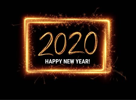 Gold 2020 Happy New Year winter holidays party invitation background. Isolated vector illustration. Christmas golden decoration backdrop. Hand drawn light painting lettering. Sparkler effect, motion.