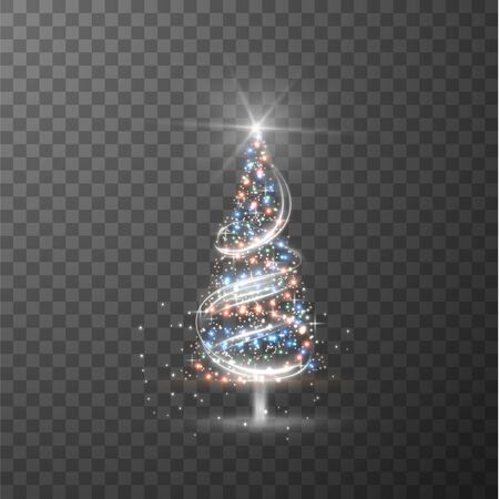 Shiny Christmas tree with glowing hanging garland lights season greetings template on checkered background. Vector eps10. 向量圖像