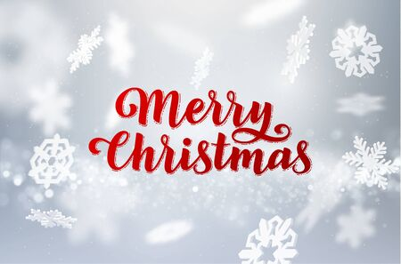 Merry Christmas holiday background with hand drawn text